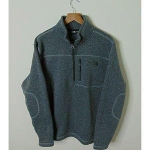 North Face L ½ Zip Fleece Pullover Sweater Gray